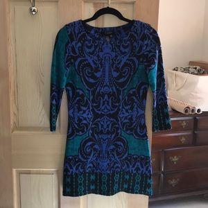PAPILLON minidress. Blue, green, black pattern